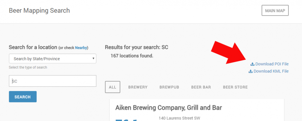 Download POI or KML or CSV ASAP | The Beer Mapping Project